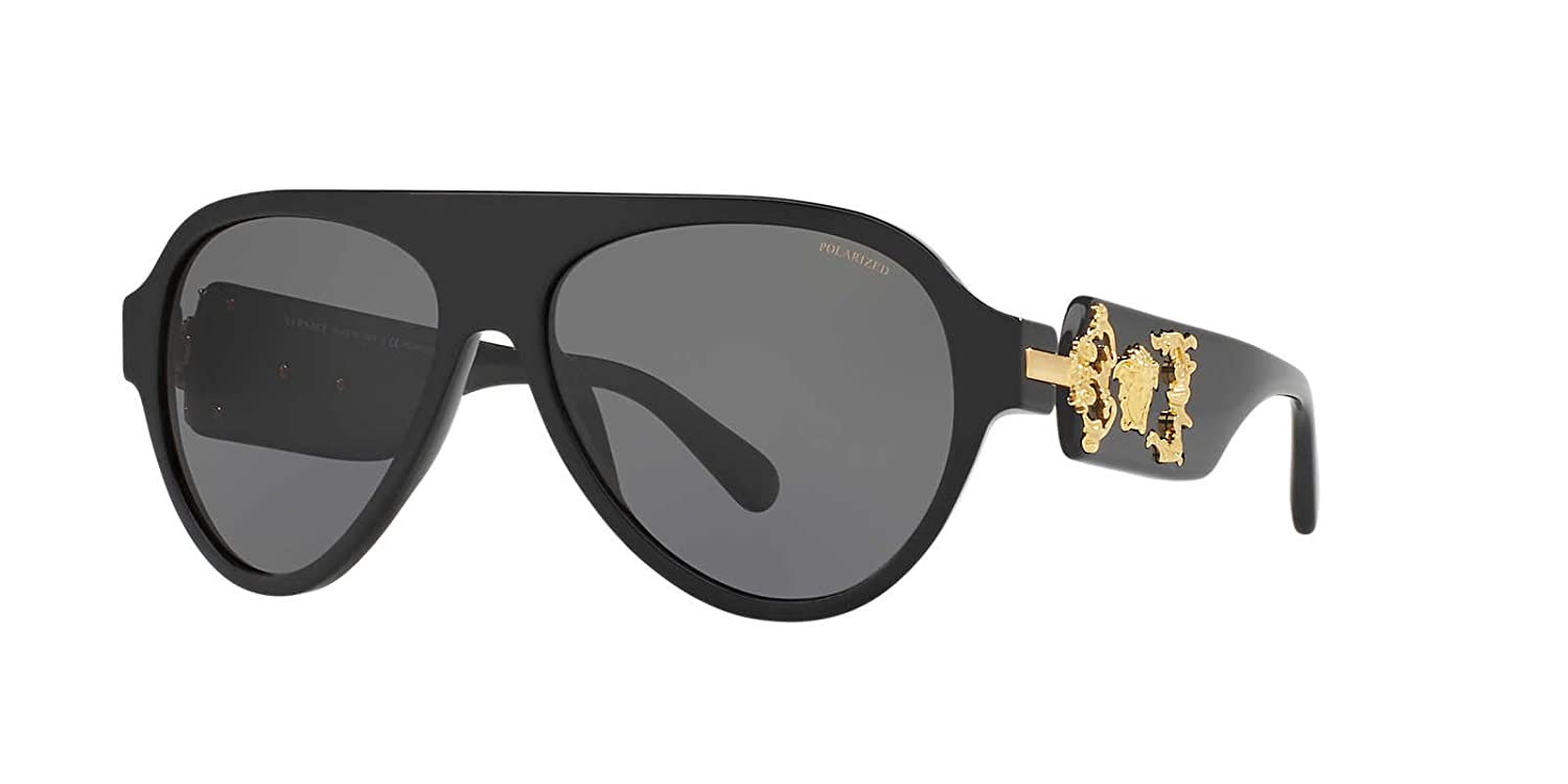 a25f215f57 Amazon.com  Versace Mens Only At Sunglass Hut Sunglasses (VE4323)  Black Grey Acetate - Polarized - 58mm  Clothing