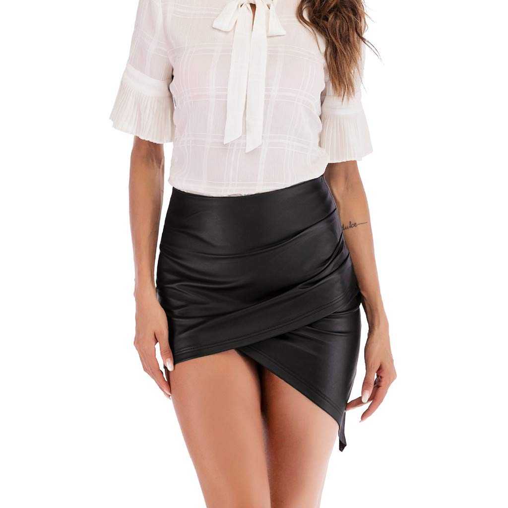 baskuwish Women High Waisted Pencil Wrap Skirt Bodycon Leather Mini Skirt Club