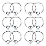 Briana Williams 12pcs 18G Attached Captive Bead Nose Hoop Rings Lip Eyebrow Tongue