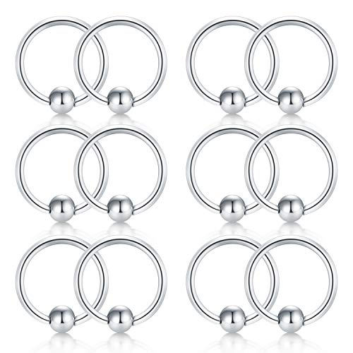 (Briana Williams 12pcs 18G Attached Captive Bead Nose Hoop Rings Lip Eyebrow Tongue Helix Tragus Cartilage Earring Septum Piercing Ring)