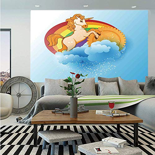 Unicorn Home and Kids Decor Wall Mural,Unicorn with a Single Horn Forehead on Sun Fluffy Clouds Art Print,Self-Adhesive Large Wallpaper for Home Decor 83x120 inches,Multi -