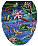 Toilet Tattoos TT-7740-O Koi Fish Decorative Applique for Toilet Lid, Elongated