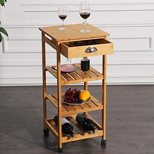 Kitchen Bamboo Multi-Layer Rack, Corner Frame with Wheel Removable Trolley, Seasoning Storage Rack, with Drawer Mesa by Kitchen Cart (Image #4)