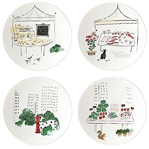 Kate Spade New York To Market Dinnerware Tidbit Appetizer Accent Plates, Set of 4