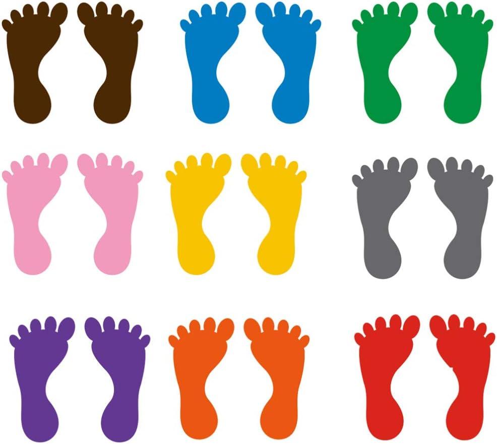 STOBOK 36 Pares Coloridos Adhesivos Autoadhesivos de Huellas de Piso Calcomanías de Bañera para Sala de Niños Guardería Piso Escaleras Decoración