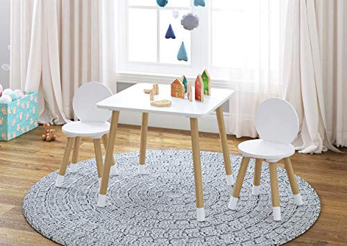 UTEX Kids Table with 2 Chairs Set for toddlers, boys, girls, 3 Piece Kiddy Table and Chairs Set, White