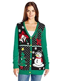 Ugly Christmas Sweater Women's Button-Front Christmas Cardigan Sweater