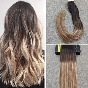 Ugeat 100g 24zoll Tape On Extension 60cm Glatt Echthaar Echte Haare Extensions Haarverlangerung Echthaar Extensions Dunkelste Braune Und Mittelbraune