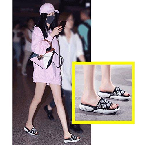 Female 5 Slippers Womenn Outer Flop Size Sandals 0 Fashion Sequined Flip Summer Wear wUT16Txq