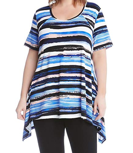 (Karen Kane Womens Plus Printed Striped Casual Top Blue)
