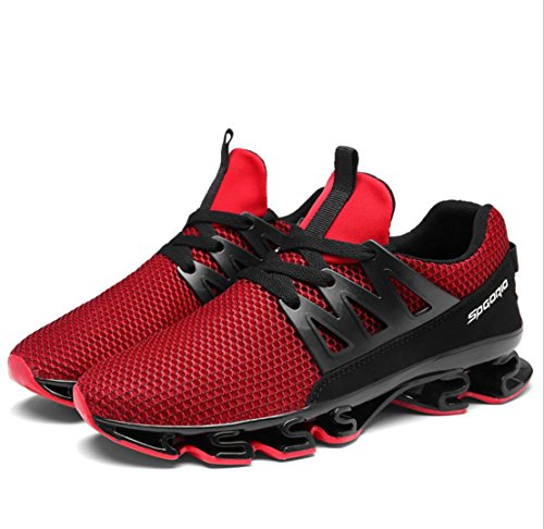 WSK Men's sneakers mesh breathable cushioning casual shoes running men's shoes increase size 39-47, Red, 41