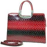 Exquisite Womens Designer Briefcase Laptop/Tablet/Ipad Bag (Red Black Croc)