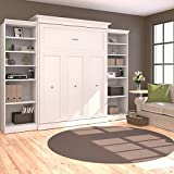 115 in. Queen Wall Bed with Storage Units in White