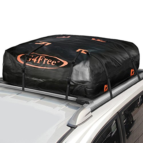 G4Free 15.7 Cubic Feet Waterproof Car Top Carrier, Easy to Install Soft Roof Bag Cargo Bag with Wide Straps-Works with or Without Roof Rack -
