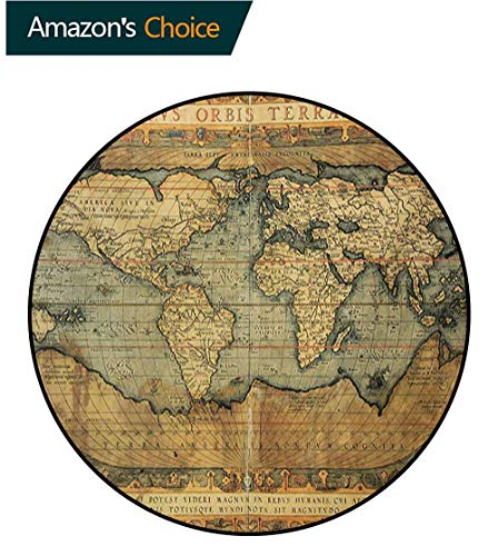 RUGSMAT World Map Print Area Rug,Ancient Old Chart Vintage Reproduction of 16Th Century Atlas Print Perfect for Any Room,Floor Carpet,Round-71 Inch Sand Brown Slate Blue