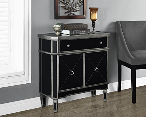 Monarch Specialties Brushed Charcoal Grey/Black Mirrored Accent Table, 32-Inch (Black And Mirrored Bedroom Furniture)