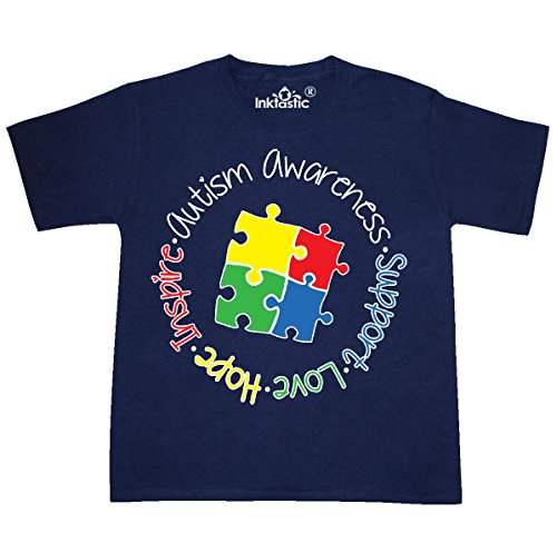 inktastic - Autism Awareness Circle Youth T-Shirt Youth Large (14-16) Navy 26a23
