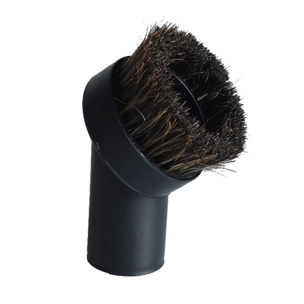 "GIBTOOL Replacement Round Dusting Brush Soft Horsehair Bristle Vacuum Attachment 1.25"" 1-1/4"" 32mm Black Brush for Most Brand Accepting 1.25'' Attachment"