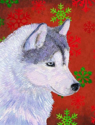 Caroline's Treasures SS4671GF Siberian Husky Red Green Snowflake Holiday Christmas Flag, Small, Multicolor