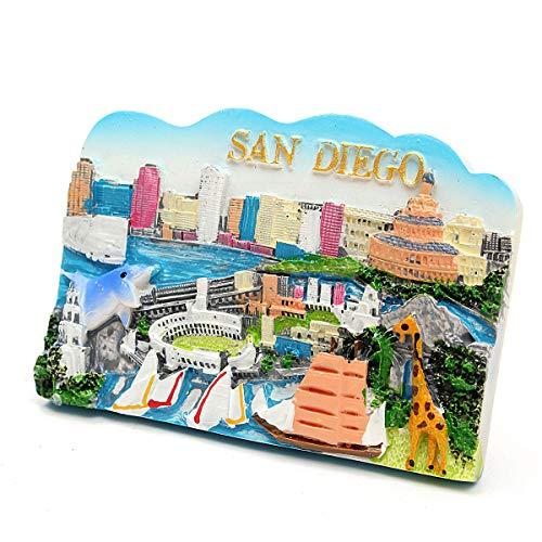 Resin Tourist Souvenir Favorite Travel Resin 3D San Diego - Mechanical Parts Magnet - 1pc x Resin Fridge -