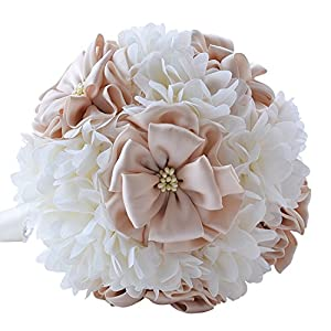 FYSTORE Romantic Wedding Bride Holding Bouquet Roses Artificial Foam Flower Bouque 49
