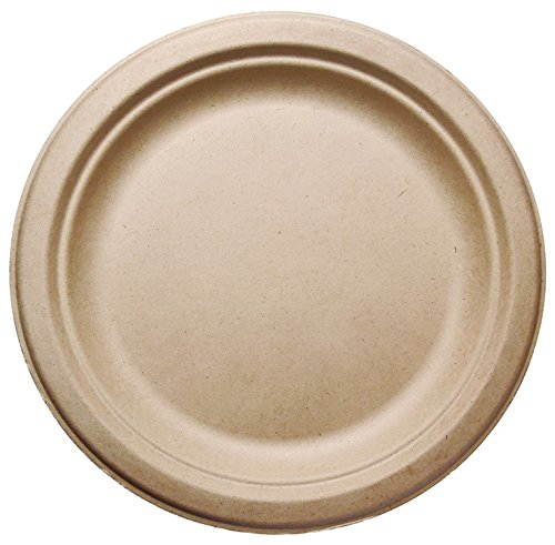 [125 COUNT] 7'' in Round Disposable Plates - Natural Sugarcane Bagasse Bamboo Fibers Sturdy Seven Inch Compostable Eco Friendly Environmental Paper Plate Alternative 100% by-product Tree Plastic Free by Harvest Pack (Image #2)