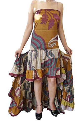 Womens Hi Low Dress Recycled Silk Feminine Touch Ruffle Tiered Design Flowy Strapless Sundress (Brown,Purple) (Silk Skirt Swirl)