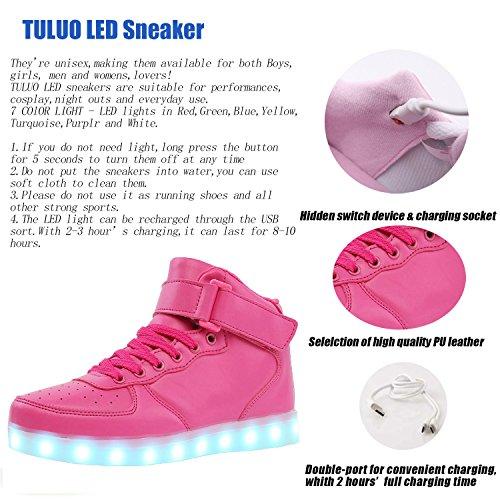 Chargement Led Tuluo Chaussures dessus Pink Enfants Pour Usb Adultes De Clignotant Et Haut All Sport Les qCwEHwf