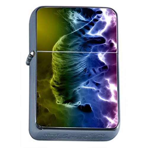 (Abstract Rainbow Tiger Flip Top Oil Lighter Em1 Smoking Cigarette Silver Case Included)