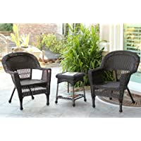 Jeco W00201_2-CES 3 Piece Wicker Chair and End Table Set without Cushion, Espresso