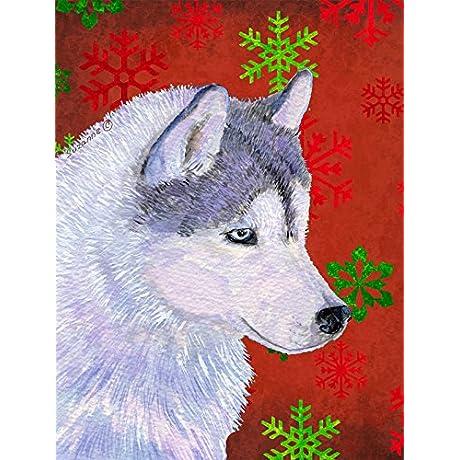 Caroline S Treasures SS4671CHF Siberian Husky Red Green Snowflakes Holiday Christmas Canvas House Flag