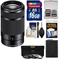 Sony Alpha E-Mount 55-210mm f/4.5-6.3 OSS Zoom Lens (Black) with 16GB Card + NP-FW50 Battery + 3 Filters Kit for A7, A7R, A7S Mark II, A5100, A6000, A6300 Cameras