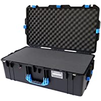 Black w/ Blue handles & latches Pelican 1615 case. With Foam. With Wheels.
