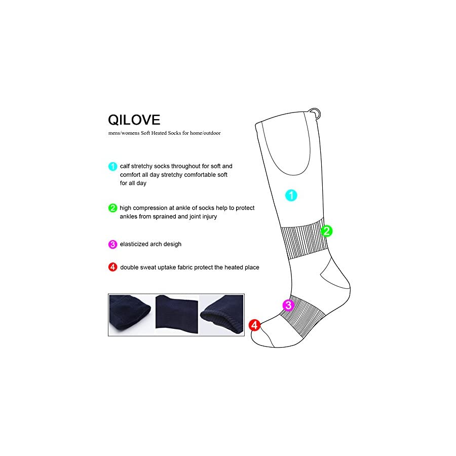 QILOVE Heated Socks Electric Battery Opeated Men Women Camping Hunting Skiing Foot Warmer Winter Cold Weather Cotton Warm Heating Sox