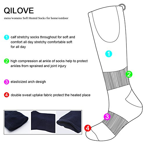 QILOVE Winter Heavy Thick Warm Heated Royal Blue Socks Electric Rechargeable Battery Men's Women's Outdoor Foot Warmers Hiking Skiing Climbing Medium Size