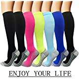 7 Pack Copper Knee High Compression Socks For Men & Women-Best For Running,Athletic,Medical,Pregnancy and Travel -15-20mmHg