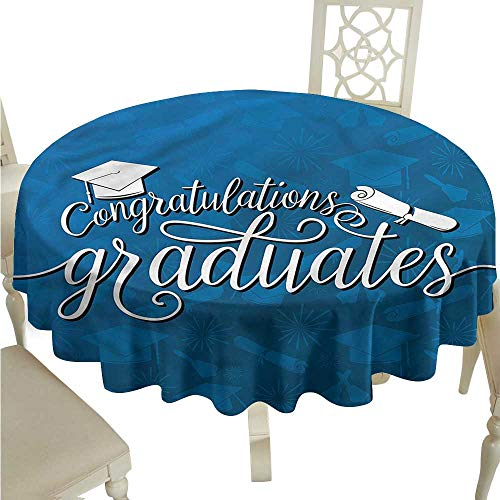 - ScottDecor Fabric Tablecloth Graduation,College Ceremony Design Tassel Tablecloth Round Tablecloth D 36