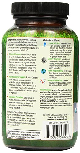 Ginkgo Smart by Irwin Naturals, Brain Booster for Memory & Focus, 120 Liquid Softgels by Irwin Naturals (Image #4)