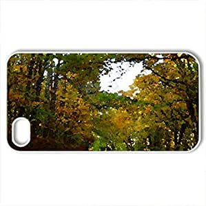 Autumn Slendor - Case Cover for iPhone 4 and 4s (Forests Series, Watercolor style, White)