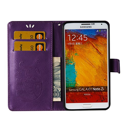 Ukayfe Flip funda de cuero PU para Samsung Galaxy Note 3, Leather Wallet Case Cover Skin Shell Carcasa Funda para Samsung Galaxy Note 3 con Pintado Patrón Diseño, Cubierta de la caja Funda protectora  Elefante-Púrpura