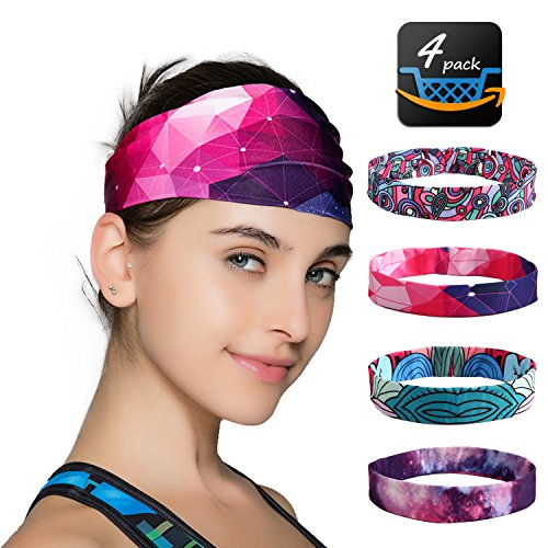 Sports Yoga Headbands For Women-4 Pack Wide Printing Elasticity Non-slip Workout Headband Girls