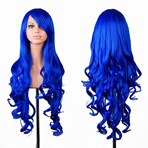 EmaxDesign Wigs 32 Inch Cosplay Wig For Women With Wig Cap and Comb (Dark Blue)]()