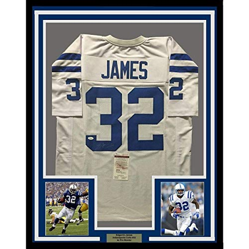 Framed Autographed Signed Memorabilia Edgerrin James 33X42 Indianapolis White Jersey - JSA - Framed Edgerrin James