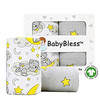 Fitted Crib Sheets (2 Pack) - 100% Organic Jersey Cotton Crib Sheets for Standard Crib and Toddler Mattresses | Unisex Star and Bear Print | Nursery Bedding Sheets for Baby Boy or Girl