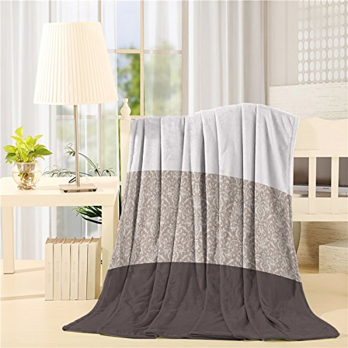 Luxury Chateau Blanket - Home Chateau Striped,Taupe Flannel Blanket,Throw Luxury Blanket Reversible Fuzzy Microfiber All Season Blanket for Child and Adults 50