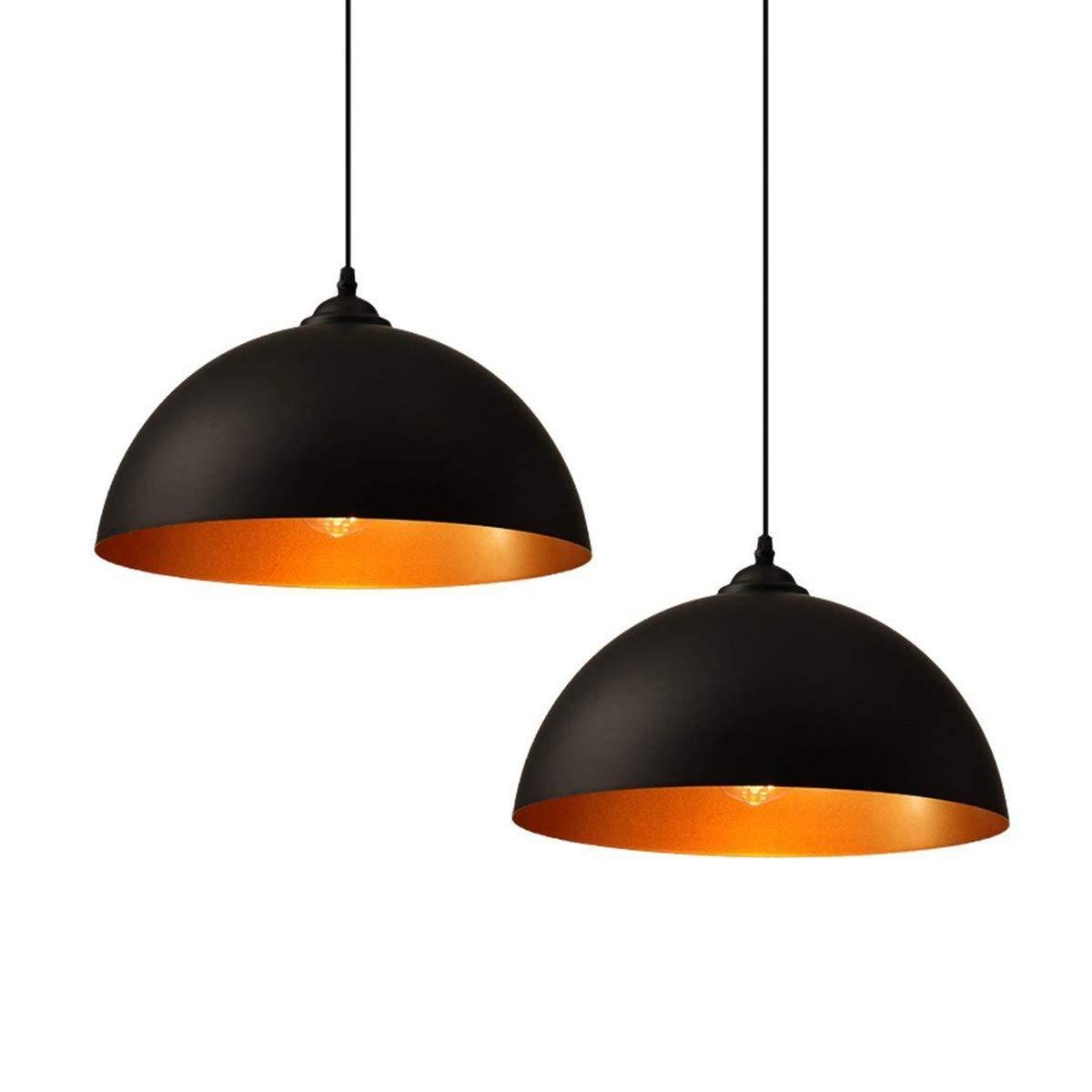 2x Suspension vintage, luminaires style industriell, Ø 350mm plafonnier vintage lot de, éclairage intérieur, lampe cuisine salon salle à manger chambre, noir, 230V, E27 Ampoule ZOOVQI