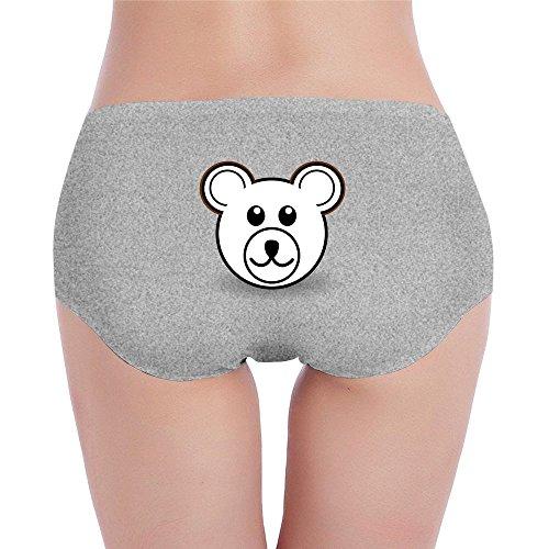 Women's Cool Bear Head Cartoon Low-Cut Cotton Brief Panty