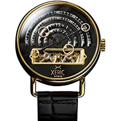 Xeric Men's Automatic Stainless Steel and Leather Watch, Color:Black (Model: HLG-3019)