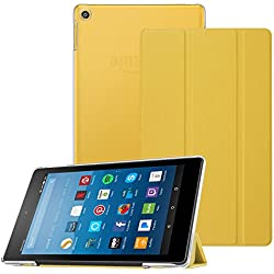 """Fintie Case for All-New Fire HD 8 2017 / Fire HD 8 2016, Super Slim Lightweight Stand Cover with Translucent Frosted Back Protector for Amazon Fire HD 8 7th / 6th Generation 8"""" Table, Yellow"""