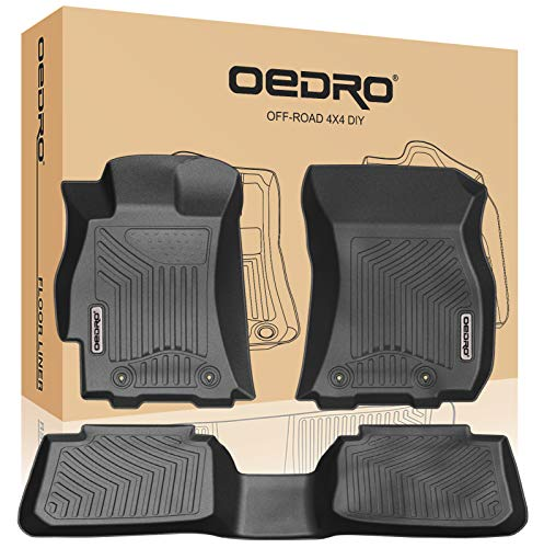 oEdRo Floor Mats Compatible for 2015-2019 Subaru Outback/Legacy, Black TPE All Weather Guard 1st and 2nd Row Liners